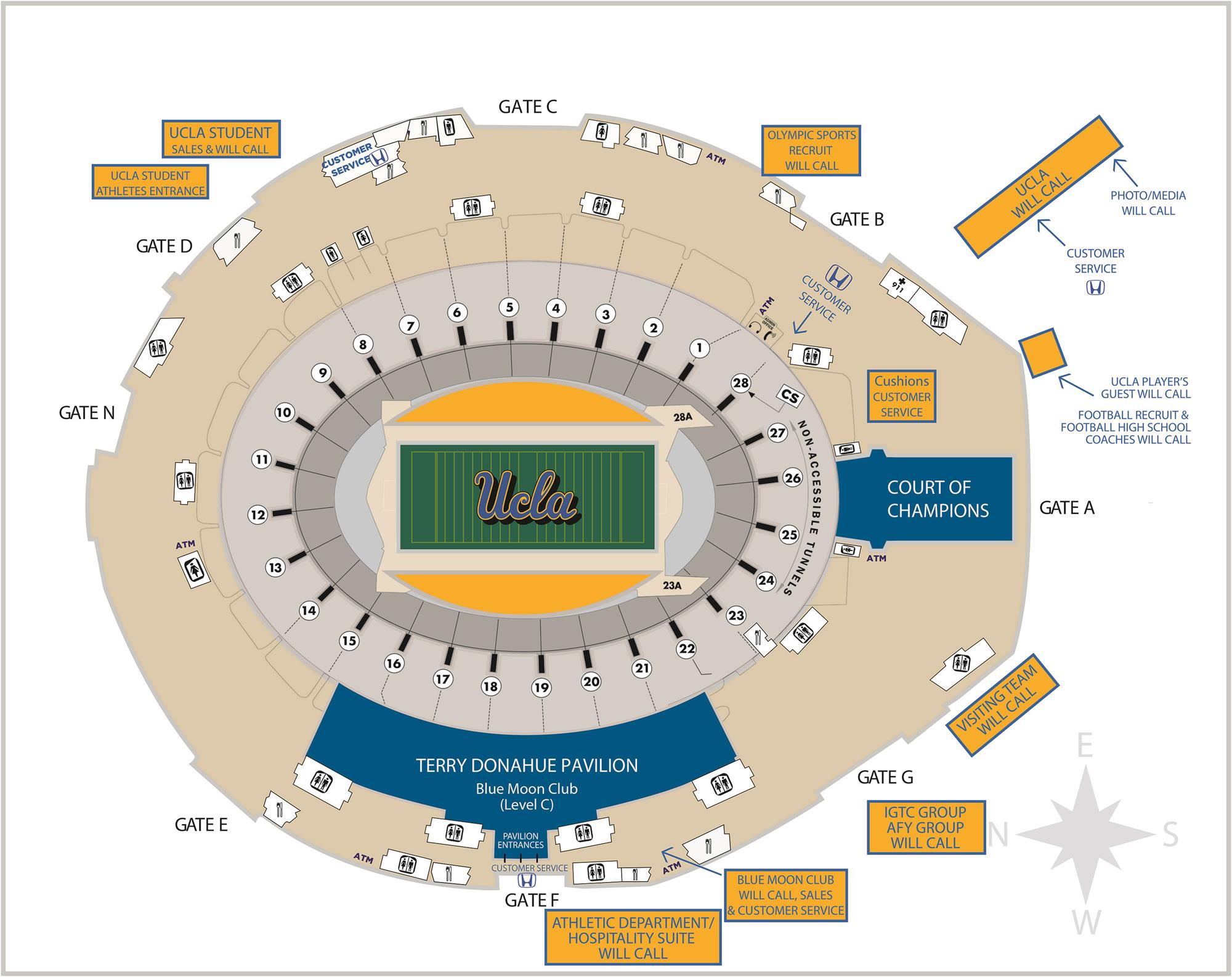 Rose Bowl Seating Map UCLA Football Stadium Map   UCLA Rose Bowl Seating Map