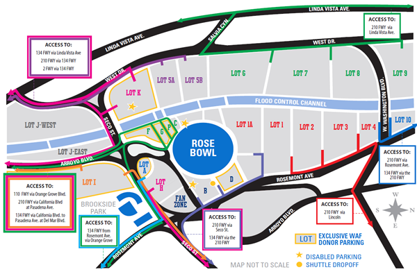 Rose Bowl Parking Map Football Parking Page   UCLA Rose Bowl Parking Map